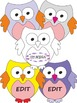 Owl Theme - Labels (Editable) - Clipart