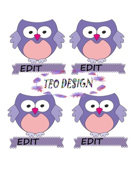 Owl Theme - Labels (Editable) - Clipart - Back to School Activities