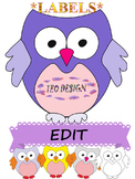 Owl Theme Labels Editable Clipart End of the Year Activities
