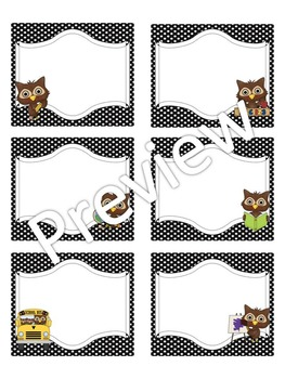 Labels: Editable Owl Theme