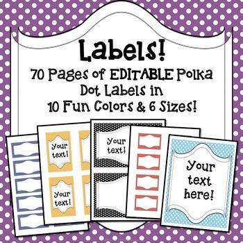 Labels: Editable Polka Dots