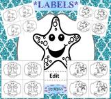 Ocean Theme - Editable Labels - Classroom Decor - Ocean Animals Black Line