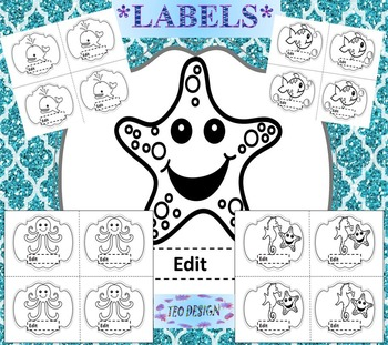 Ocean Theme - Editable Labels - Classroom Decor - Ocean Animals Black Line