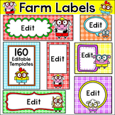 Farm Theme Editable Labels - Make name tags, center signs, binder covers etc