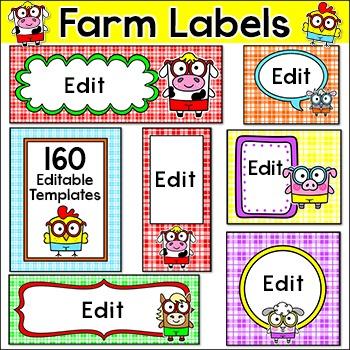 Farm Theme Labels for Signs, Classroom Jobs, Teacher Binde