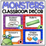 Classroom Supply Labels in a Monsters Classroom Decor Theme}