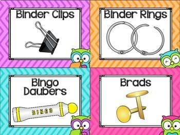 Classroom Supply Labels {Owls and Chevron Decor Theme}