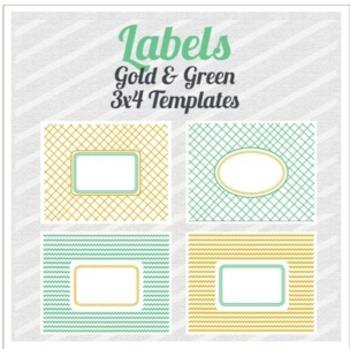 Labels: Gold & Green Chevron and Crisscross