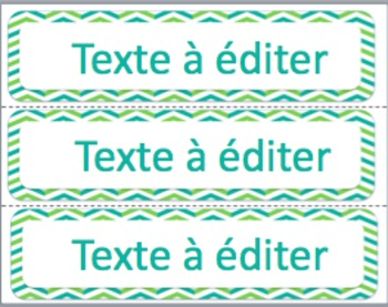 Labels - Green and Turquoise-EDITABLE/ Étiquettes pour la classe à éditer