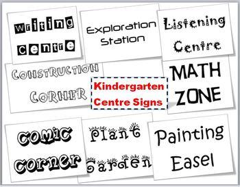 Labels - Kindergarten Learning Centre Signs