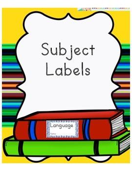 Labels -Language, Spanish, Science etc.