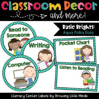 Labels- Literacy Centers- Aqua