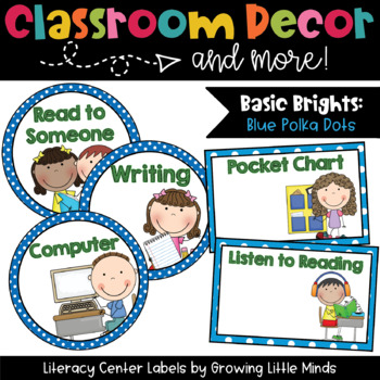 Labels- Literacy Centers- Blue