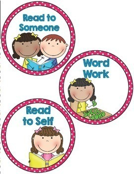 Labels- Literacy Centers- Pink