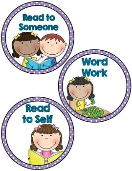 Labels- Literacy Centers- Purple