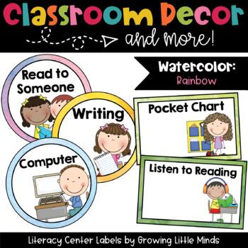Labels- Literacy Centers- Rainbow Watercolor classroom decor