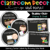 Labels- Literacy Centers- Shabby Chic Rustic Shiplap Wood Chalkboard
