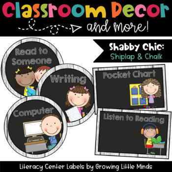 Labels- Literacy Centers- Shabby Chic Rustic Shiplap Wood