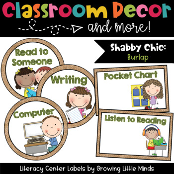 Labels- Literacy Centers- Shabby Chic Burlap