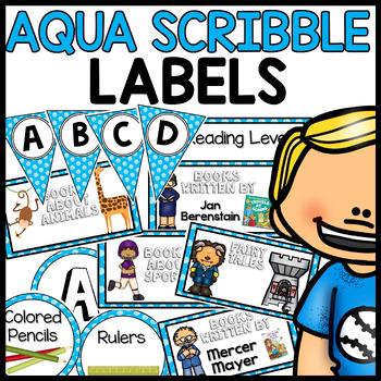 Labels MX AND MATCH (AQUA Polka Dot Scribble)