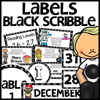 Labels MX AND MATCH (BLACK Polka Dot Scribble)
