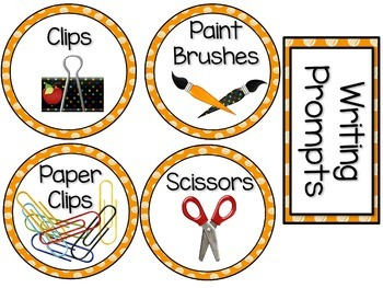 Labels MX AND MATCH (ORANGE Polka Dot Scribble)