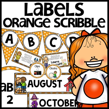Labels MIX AND MATCH (ORANGE Polka Dot Scribble)