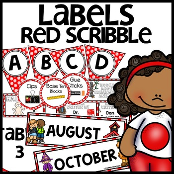 Labels MIX AND MATCH (RED Polka Dot Scribble)