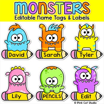 Monsters theme name tags and labels classroom decor by for Locker tag templates