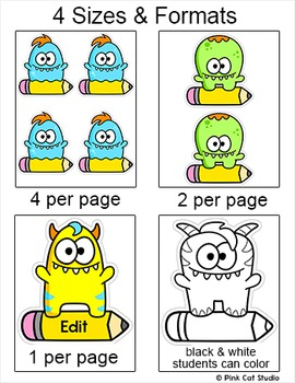 Monsters Theme Name Tags and Labels Classroom Decor
