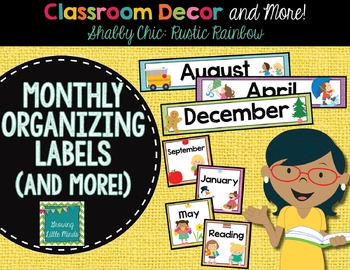 Labels- Monthly Organizing- Shabby Chic Rustic Rainbow Burlap
