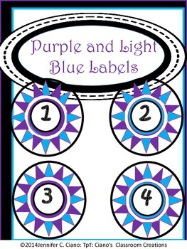 Labels: Purple and Light Blue Stars