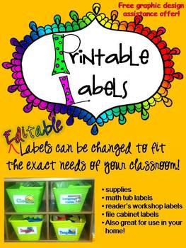 Labels - R.E.A.L. pictures on each label - EDITABLE Classr