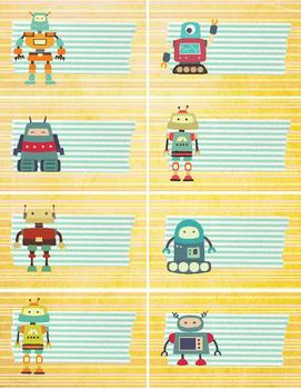 Labels Robot fun cute labels for classroom organization
