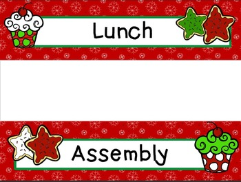 Labels - Schedule Cards ~ December Theme with Images