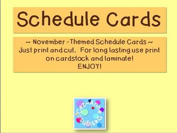 Labels - Schedule Cards ~ November Theme with Images