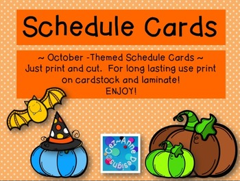 Labels - Schedule Cards ~ October Theme with Images