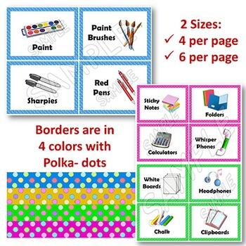 EDITABLE Classroom Supply Labels EDITABLE School Supply Labels BRIGHT POLKA DOT