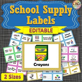 Labels School Supply EDITABLE Polka-dot