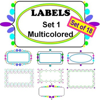 Labels, Set 1 now MULTICOLORED!  18 Labels Included