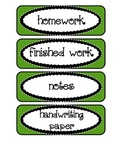 Labels / Signs for Classroom Trays, in Green