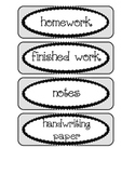Labels / Signs for Paper Trays in Classroom, in light gray