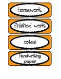 Labels / Signs for Paper Trays in Classroom, in orange