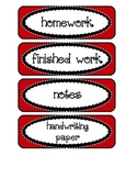 Labels / Signs for Paper Trays in Classroom, in red