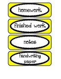 Labels / Signs for Paper Trays in Classroom, in yellow