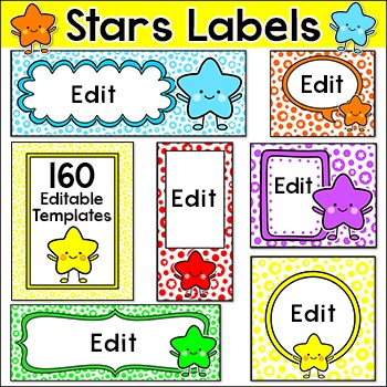 Stars Theme Labels for Classroom Jobs, Supply Bins, Posters, Signs etc