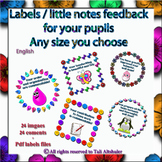 Labels Stickers feedback to Pupils - English