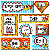 Superhero Owl Theme Labels for Classroom Jobs, Teacher Binders, Supplies etc