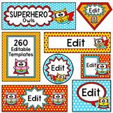 Superhero Owl Theme Labels for Classroom Jobs, Teacher Bin