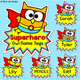 Superhero Theme Owl Labels and Name Tags